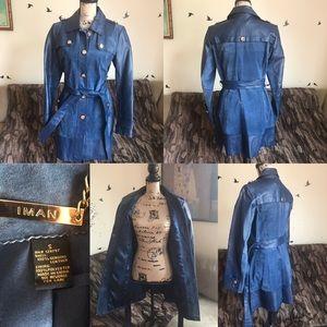IMAN Genuine Leather Coat Blue Small